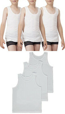 Kids Boys Childrens Vests White 100% Cotton Summer Tank Top School Wear 3 Pack