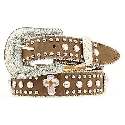 Nocona Girls Brown With Pink Crystal Cross Concho Belt