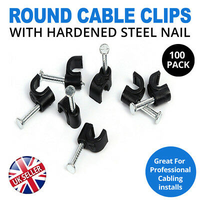 100 Pack of Round Black Cable Wire Wall Clip With Nail Fixing Sizes 4 to 14mm