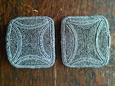 Antique French Ornate Marcasite Rounded Edge Square Shoe Clips
