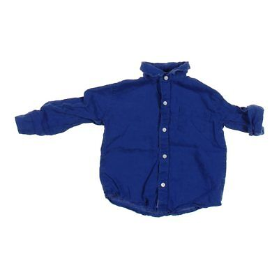 Janie and Jack Baby Boys Shirt, size 18 mo,  blue/navy,  linen