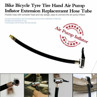Bike Bicycle Tyre Tire Hand Air Pump Inflator Extension Replacement Hose Tube EC