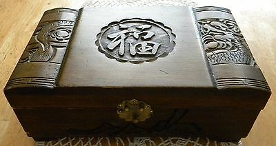 Vintage Chinese Box Carved Camphor Wood Jewelry Trinket Asian