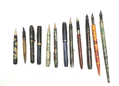 Old Collection of 12 Estate Fountain Pens Pencils Marbleized Striated Swirls