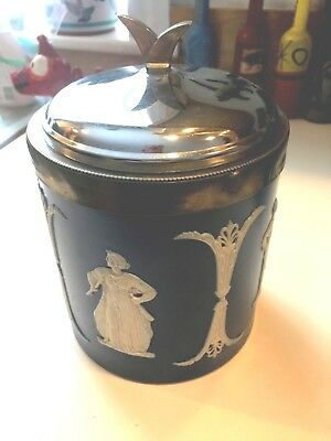 Antique Wedgwood Dudson Dark Blue Dip Jasperware Silver Plate Lid Biscuit Jar!