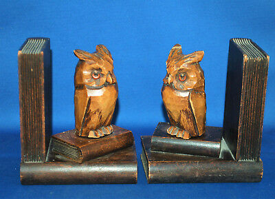 An antique pair carved wooden Black Forest style owl bookends A/F