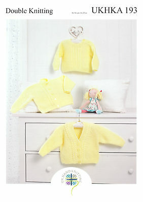 UKHKA 173 Baby Hooded /& Round Neck Cardigan Knitting Pattern In DK  12-20/""