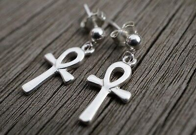 Small Ankh Charm Sterling Silver Delicate Earrings* Egyptian cross* Life symbol*