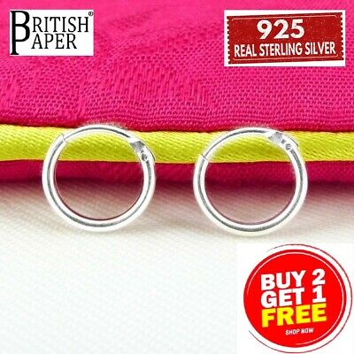 Girls 925 Sterling Silver 8mm -20mm Small Tiny Hinged Hoop Sleeper Earrings Pair