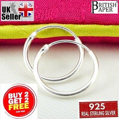 Girls 925 Sterling Silver 8mm -16mm Small Hoop Sleeper Earrings Nose Rings Pairs