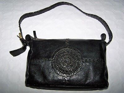 "Borsa ""Green Hills "" Pelle Shoulder Black  Bag Vtg 100% Made In Italy"