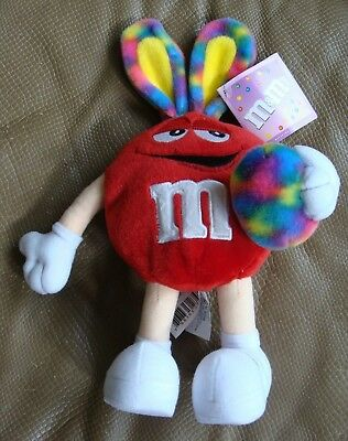 M&M Plush Red Candy with Tie Dye Bunny Ears & Easter Egg - 2003 - Mint w/ Tags