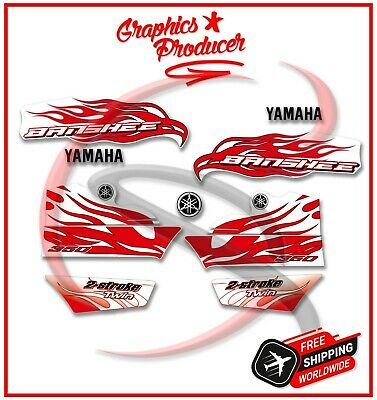 Yamaha Banshee Decals 2007 Red 421Model Full Set Graphics For OEM Fenders