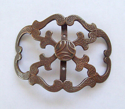 Antique Victorian Woman's Brass Belt Buckle with Ornate Surface Designs - Signed