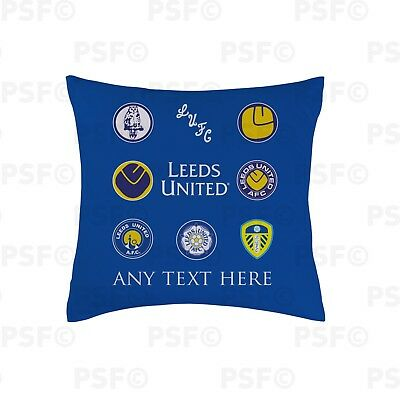Leeds United FC Official Personalised Retro Badges Blue 45cm Cushion LC001