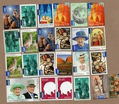 Australia International Post Unfranked Stamps, All Off Paper No Gum F/V Over $50