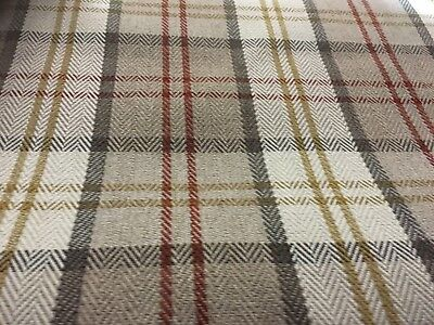 Lewis Check/tartan Upholstery Fabric Natural ( Red/cream/beige/gold ) £8.99 P/ M
