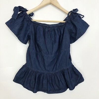 ab944d3d Disney Beauty And The Beast Chambray Tie Off The Shoulder Peplum Top  Junior's S
