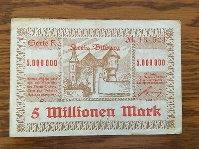 1923 German 5 Millionen Mark Note