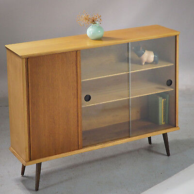 Glazed Bookcase Display Cabinet Sideboard - Vintage Retro (delivery available)