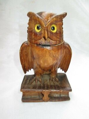 Vintage Antique Carved Wood Wooden Owl Inkwell Black Forest Style Glass Insert