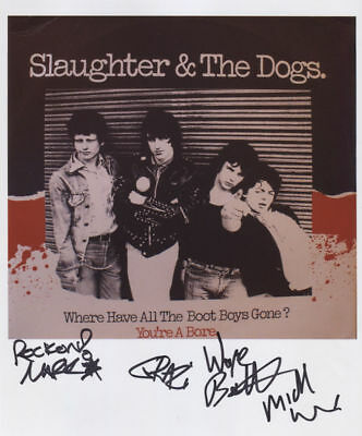 Slaughter And The Dogs  Signed 8 x 10 Photo Genuine Obtained In Person + COA