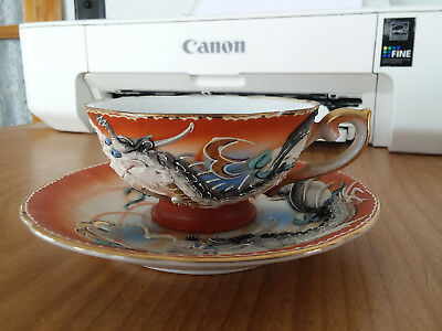 Hand Painted Ok Dragon Ware Cup And Saucer Made In Japan