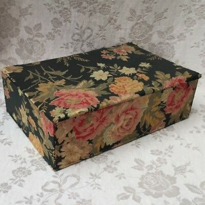 Antique FRENCH Timeworn BOUDOIR or Sewing BOX Faded Black Floral Fabric ca 1910