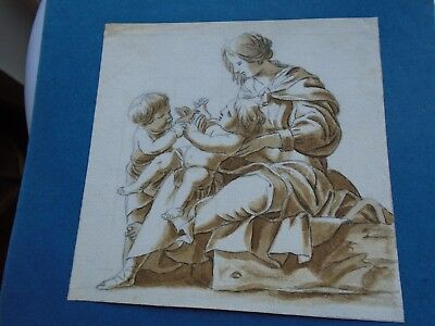 Antique Watercolour Old Master. Mother and Infants. Early.