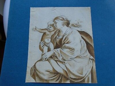 Antique Watercolour Old Master. Mother and Child. Early.