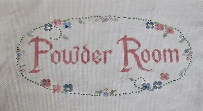 Completed Finished Cross Stitch, Powder Room,rose