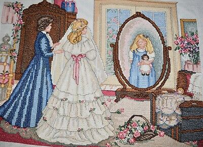 Completed Finished Cross Stitch, Paula Vaughan, Thru A Mother's Eyes