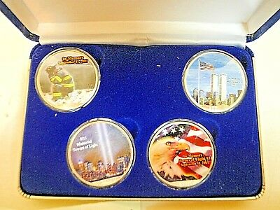 Always Remember 4 0z .999 silver coins collection set colorized & Rare.