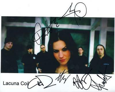 Lacuna Coil (Band) Fully  Signed 8 x 10 Photo Genuine In Person + COA