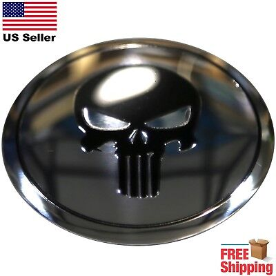 "DOME SHAPE 3D Metal Punisher Skull Decal Sticker Emblem 2.20"" Black/Silver"