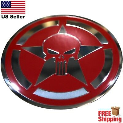 DOME SHAPE 3D Metal Captain American Punisher Skull Shield Sticker Decal 2.20""