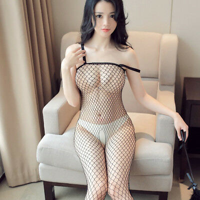 Fishnet Body Stockings Bodysuit Babydoll Dress Sleepwear Women'S Adult LingeriFB