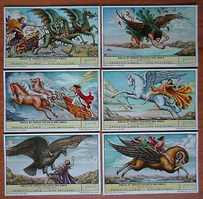 1961 set of 6 liebig trade cards S 1758 GREEK MYTHOLOGY / FLYING GODS & HEROES