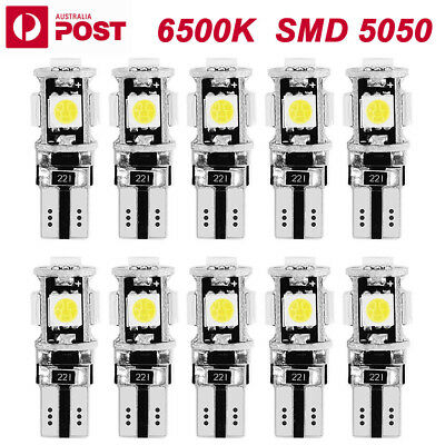 10PCS T10 Wedge 5SMD Parker Number Plate LED Bulbs W5W 194 168 131 WHITE OZ