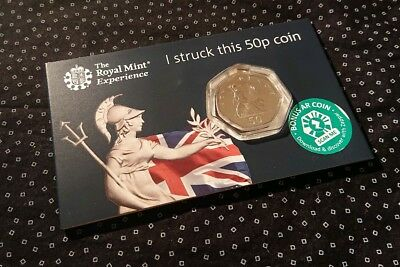 Royal Mint STRIKE YOUR OWN COIN Britannia 50p Fifty Pence 2019 with Tour Receipt