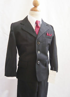 boys black pinstripe suit with red tie and handkerchief formal suit wedding