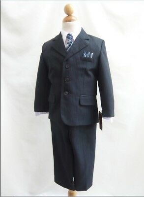 boys Navy blue pinstripe suit with blue tie and handkerchief formal suit wedding