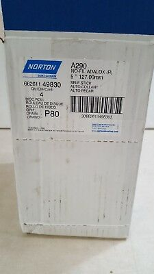 "Norton 49830 A290 No-Fil Adalox P80 Grit 5"" Self Stick Sanding Pad Qty 400/Box"