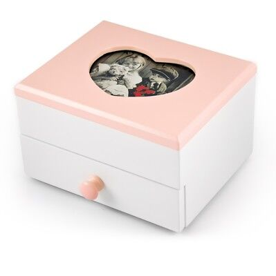 Adorable 18 Note Matte White with Pink Heart Shaped Frame Musical Jewelry Box