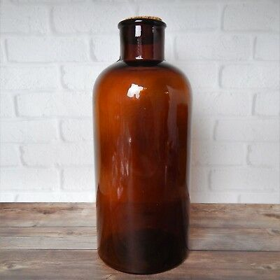 """Vintage Large Amber Brown Glass Round Wide Neck Bottle with Cork 12.5"""" #289"""