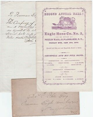 RARE Letter + Prog Canajoharie NY Black African American Band Fire Dep Ball 1872