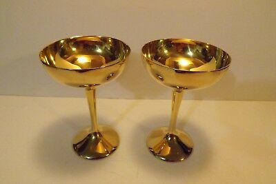 Pair of International Silver Company Electroplated 24KT Gold Champagne Goblets