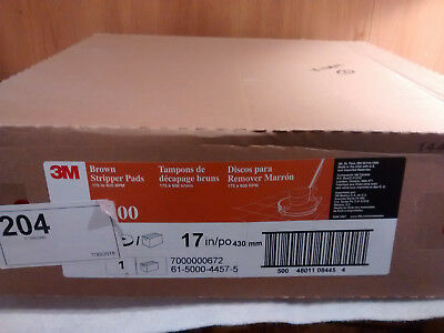 "Case of 5, 3M Brown Stripper Pads 7100 175-600 RPM 17"" for Wet/Dry Stripping"