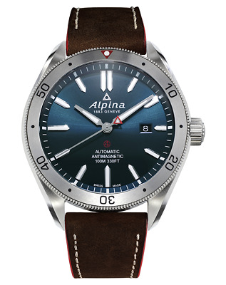 Alpina Men's AL-525NS5AQ6 Automatic Blue Dial Brown Leather Strap 44mm Watch