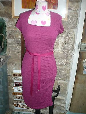 Phase Eight quality ladies dress hot pink fitted with ribbon belt lined 16